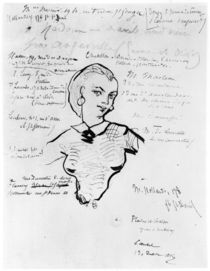 Portrait of Jeanne Duval with notes by Auguste Poulet-Malassis 1858-60 von Charles Pierre Baudelaire