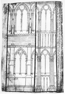 Facsimile copy of Ms Fr 19093 fol.31v Exterior and Interior Elevation of the Lateral Walls of Reims Cathedral by Villard de Honnecourt