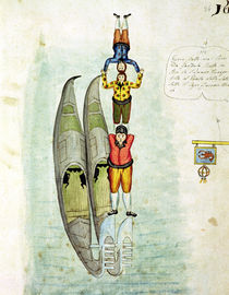Three men balancing on two gondolas by Italian School