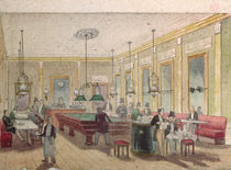 The Billiard Room in a Cafe by French School