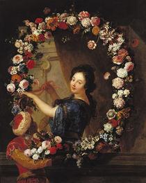Portrait of a Woman Surrounded by Flowers by J-B. & Coypel, A. Belin de Fontenay
