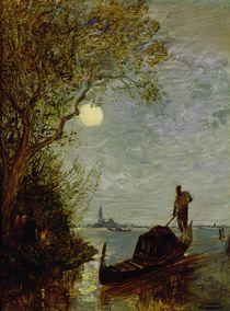 Moonlit Scene with Gondola by Felix Ziem
