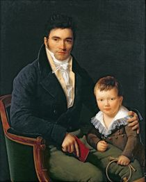 Portrait of a Member of the Barbet Family with his Son by Henri Francois Riesener