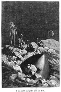 Illustration from 'From the Earth to the Moon' by Jules Verne Paris von Emile Antoine Bayard