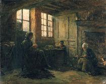 Women Fraying Linen, Honfleur by Adolphe-Felix Cals
