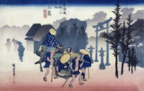 Morning Mist at Mishima, from the series '53 Stations of the Tokaido' by Ando or Utagawa Hiroshige