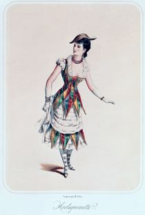 Costume design for a female harlequin by French School