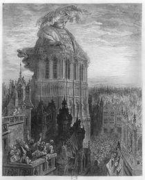 Gargantua on the towers of Notre-Dame at Paris von Gustave Dore