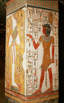 Pillar depicting Osiris and a priest wearing a panther skin by Egyptian 19th Dynasty