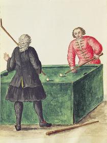 Two Venetian Noblemen Playing Billiards