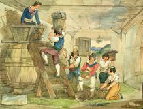 Grape-pickers carrying grapes to the press by Achille Pinelli