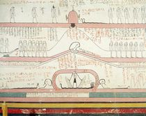Scene from the Book of Amduat showing the journey to the Underworld by Egyptian 18th Dynasty