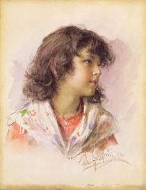 Head of a Girl, 1886 by Ludwig Passini