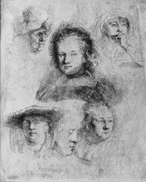 Six heads with Saskia van Uylenburgh in the centre von Rembrandt Harmenszoon van Rijn