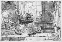 The Holy Family with a cat by Rembrandt Harmenszoon van Rijn