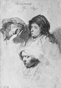 Three female heads with one sleeping von Rembrandt Harmenszoon van Rijn