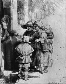 Beggars on the Doorstep of a House by Rembrandt Harmenszoon van Rijn