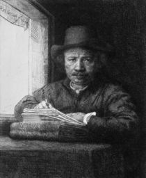 Self portrait while drawing by Rembrandt Harmenszoon van Rijn