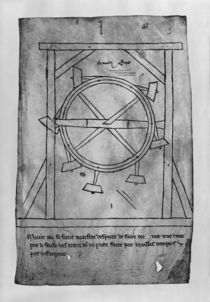Supposedly perpetual motion mallets and wheel by Villard de Honnecourt