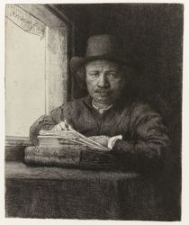 Self-portrait etching at a window by Rembrandt Harmenszoon van Rijn