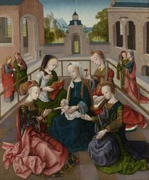 The Virgin and Child with Four Holy Virgins von Master of the Virgo Inter Virgines