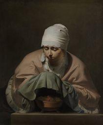 A Young Woman Warming her Hands over a Brazier by Cesar Boetius van Everdingen