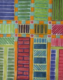 Orange-Turquoise Grid with different Fillings  von Heidi  Capitaine