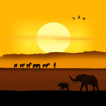 Ein Morgen in der afrikanischen Savanne Variante 2 quadratisch von Monika Juengling