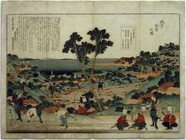 Landvermessung / Farbholzschnitt von Hokusai 1848 von AKG  Images