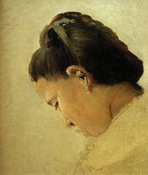 G.Seurat, 'Head of a young woman' / painting by AKG  Images