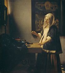 Vermeer / Woman weighing pearls /  c. 1664 by AKG  Images