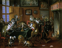 Teniers / Tobacco Club of Monkeys /  c. 1650 by AKG  Images
