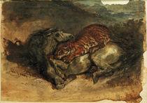 E.Delacroix, Tiger, ein Pferd anfallend by AKG  Images