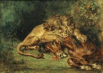 E.Delacroix, Löwe, ein Pferd reißend by AKG  Images