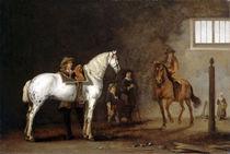 A. van Calraet, Weißes Pferd in einer Reitschule by AKG  Images
