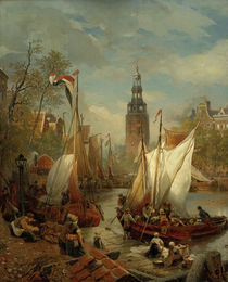 A.Achenbach, Hafenszene in Amsterdam by AKG  Images