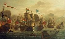 Holländ.–engl. Seeschlacht / Gem., 17. Jh. by AKG  Images