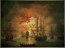 Seeschlacht bei Tschesme 1770 / Gemälde v. Hackert, 1771 von AKG  Images
