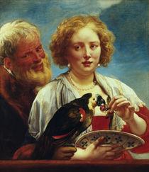 J.Jordaens / Junge Frau mit altem Mann von AKG  Images
