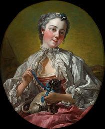 F.Boucher, Junge Frau mit Mops (Marie-Jeanne Buseau) von AKG  Images