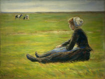 Liebermann / Goat herdess in sand dunes by AKG  Images