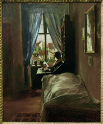 A. v. Menzel / The Artist's Bedroom / Painting, 1847 by AKG  Images