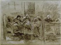 M.Liebermann, Sechs nähende holländische Mädchen vor einer Hauswand von AKG  Images