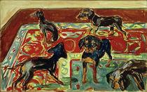 E.Munch, Fünf Welpen auf dem Teppich von AKG  Images