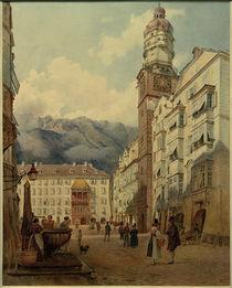 Innsbruck, Blick auf das Goldene Dachl / Aquarell von J. Alt von AKG  Images