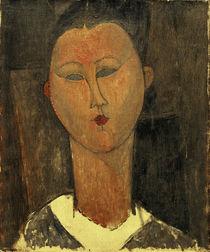 A.Modigliani, Junge Frau m. weißem Kragen / VERDACHT e. FÄLSCH von AKG  Images