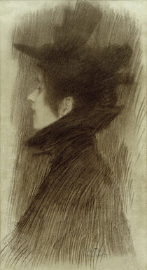 Girl with Hat and Cape in Profile / G. Klimt / Drawing c.1897 by AKG  Images