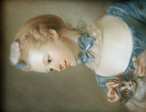 J.B.Perronneau / Girl with cat / Pastel by AKG  Images