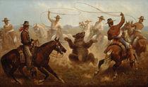 J.Walker, Cowboys fangen einen Bären mit Lassos by AKG  Images