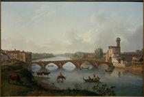 Pisa, Ponte a Mare / Gemälde v. Hackert, 1799 von AKG  Images